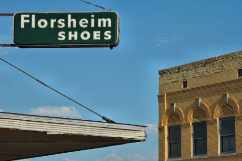 florsheim shoes sign as harris department store ocilla ga photograph copyright brian brown vanishing south georgia usa 2009