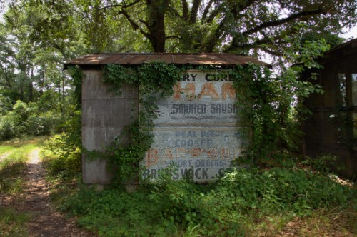 Roadside Barbecue BBQ Shed Signs Ham Smoked Sausage Telfair County GA Photograph Copyright Brian Brown Vanishing South Georgia USA 2014