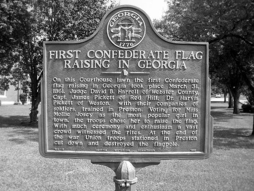 First 1st Confederate Flag Raising Marker in Georgia Preston Webster County Vanishing South GA Copyright Brian Brown