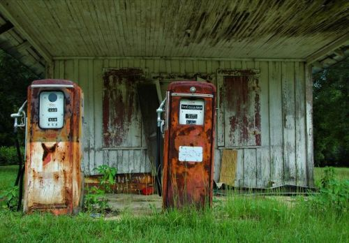 hinsonton ga johnsons grocery gas pumps photograph copyright brian brown vanishing south georgia usa 2009