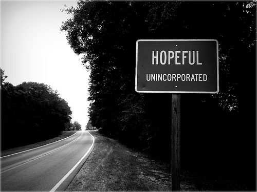hopeful unincorporated ga highway sign photograph copyright brian brown vanishing south georgia usa 2009