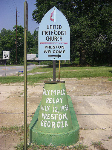 preston ga olympic torch relay marker photograph copyright brian brown vanishing south georgia usa 2009
