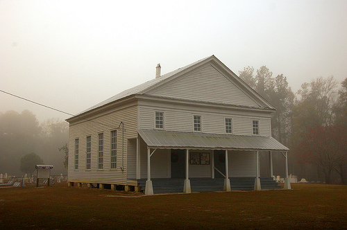 historic jones creek baptist church foggy morning long county ga photograph copyright brian brown vanishing south georgia usa 2009