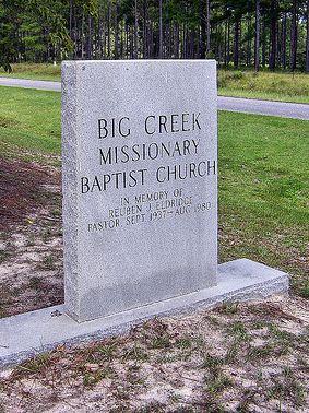 historic big creek baptist church pastor reuben j eldgridge memorial photograph copyright brian brown vanishing south georgia usa 2009