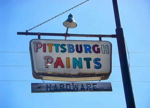 nevils ga pittsburgh paints sign photograph copyright brian brown vanishing south georgia usa 2009
