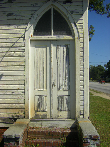 Vanishing South Georgia Vernacular Gothic Door Church Waycross Ware County GA Architecture Photo Picture Image Copyright Brian Brown