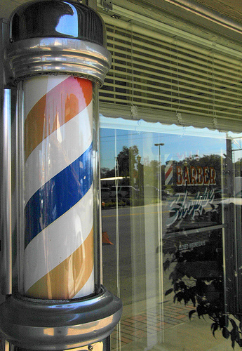 barber shop pole baxley ga photograph copyright brian brown vanishing south georgia usa 2009