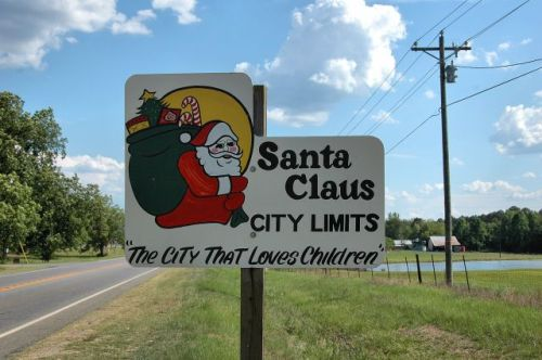 santa claus ga city limits sign photograph copyright brian brown vanishing south georgia usa 2009