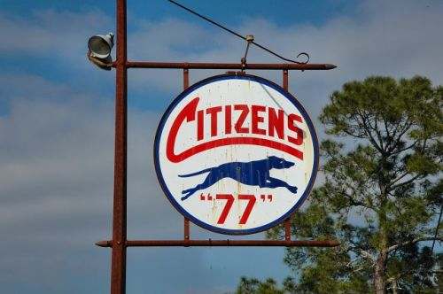calvary ga citizens 77 gasoline sign photograph copyright brian brown vanishing south georgia usa 2010