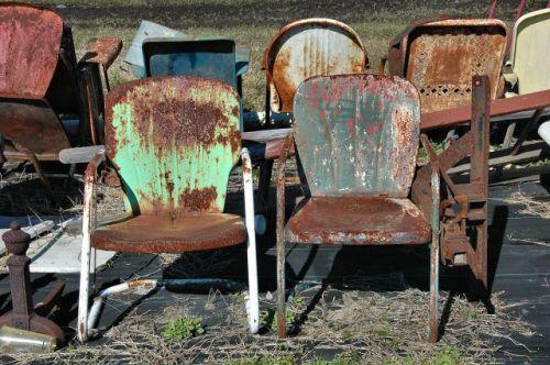 dupont ga junk antique store retro metal lawn chairs photograph copyright brian brown vanishing south georgia usa 2010