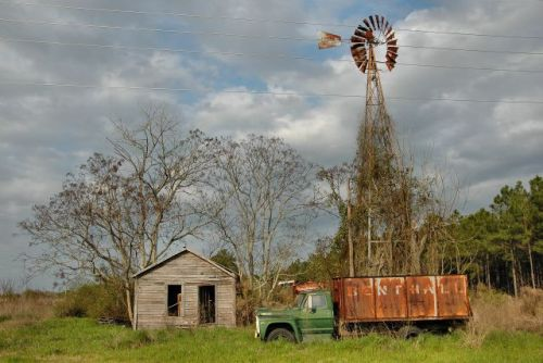 elmodel ga abandoned farm truck windmill photograph copyright brian brown vanishing south georgia usa 2010