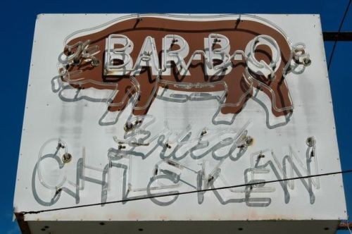 mcintosh ga liberty county bar b q fried chidken neon sign photograph copyright brian brown vanishing south georgia usa 2010