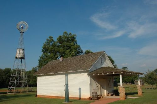 jimmy carter boyhood farm commissary windmill photograph copyright brian brown vanishing south georgia usa 2010
