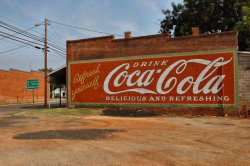 plains ga coca cola mural photograph copyright brian brown vanishing south georgia usa 2010