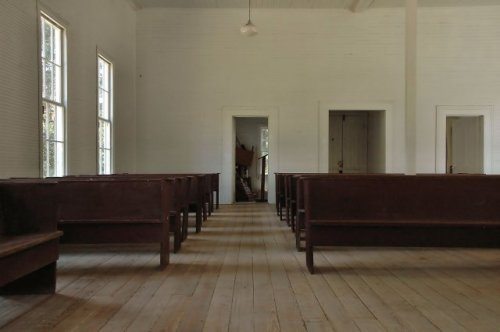 historic mount enon baptist church interior mitchell county ga photograph copyright brian brown vanishing south georgia usa 2010