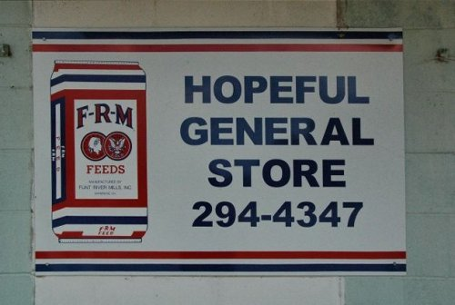 hopeful general store frm feeds sign photograph copyright brian brown vanishing south georgia usa 2010