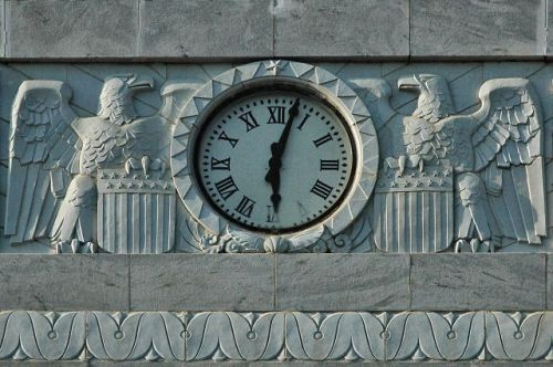 mitchell county courthouse camilla ga art deco eagle clock photograph copyright brian brown vanishing south georgia usa 2010