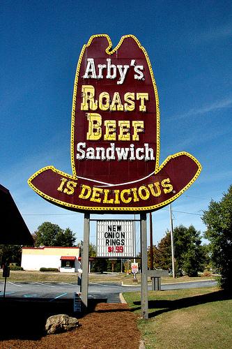 arbys roast beef big hat sign columbus ga photograph copyright brian brown vanishing south georgia usa 2010