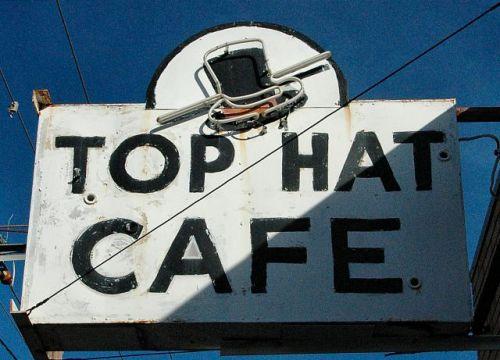 top hat cafe sign columbus ga photograph copyright brian brown vanishing south georgia usa 2010