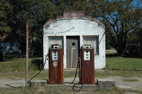 twin city ga gas filling station photograph copyright brian brown vanishing south georgia usa 2010
