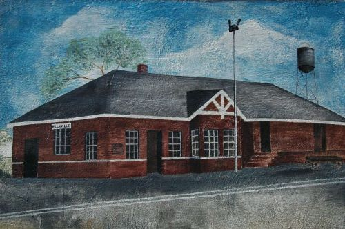 ellaville ga central of georgia railroad depot art by linda adams photograph copyright brian brown vanishing south georgia usa 2010