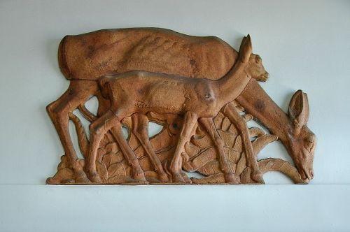 lyons ga post office albino manca deer sculpture photograph copyright brian brown vanishing south georgia usa 2011