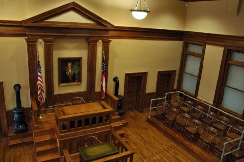 historic effingham county courhouse jury box from gallery photograph copyright brian brown vanishing south georgia usa 2011