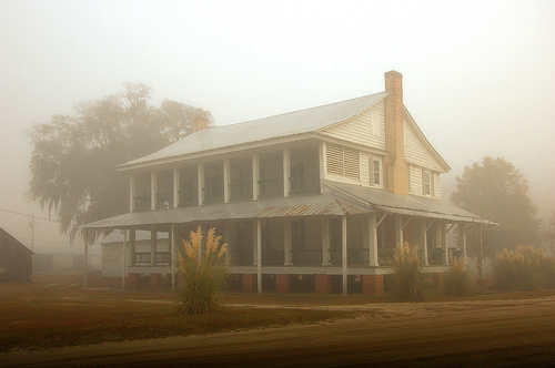 Long County GA Jones Creek Wefanie Area Horn Farmhouse Vernacular Architecture Antebellum Landmark Foggy Autumn Morning Picture Image Photo © Brian Brown Vanishing South Georgia USA 2012