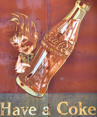 Tarrytown GA Montgomery County Metal Coca Cola Ghost Sown Boy with Bottlecap Hat Rust Rusted Picture Image Photo © Brian Brown Vanishing South Georgia USA 2012