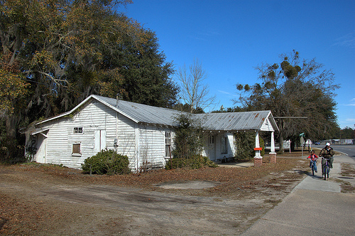 Allenhurst GA Liberty County Abandoned Mid-20th Century Roadside Grocery Store Filling Station People on Bicycles Picture Image Photo © Brian Brown Vanishing South Georgia USA 2013