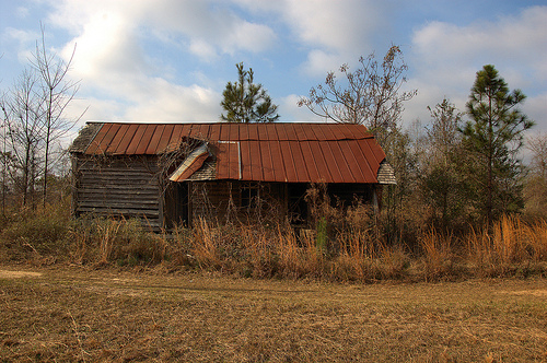 Coffee County GA Old Farmhouse Abandoned Wooden Shingle Exposed Under Rusting Tin Picture Image Photograph © Brian Brown Vanishing South Georgia USA 2013
