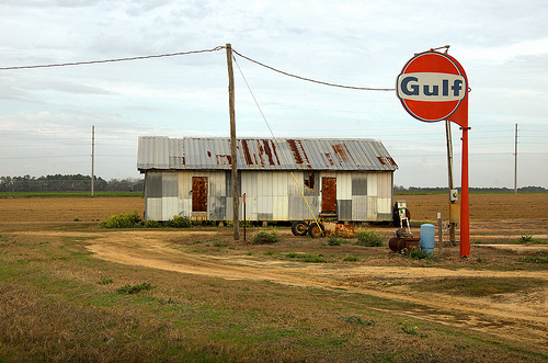 Colquitt County GA Farm Life Old Barn Gulf Oil Gasoline Sign American Highway 133 American Picture Image Photo © Brian Brown Vanishing South Georgia USA 2013