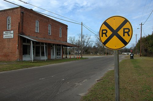 Morven GA Brooks County Old Masonic Lodge Hall Railroad Crossing Sign Picture Image Photograph © Brian Brown Vanishing South Georgia USA 2013