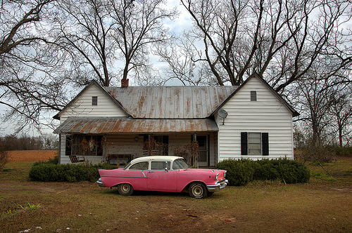 Pink 1957 Chevrolet Chevy Bel Air Classic Iconic Car Automobile in Front of Old Farmhouse with Satellite Dish Pecan Trees Winter Americana Highway 133 Brooks County GA Picture Image Photograph © Brian Brown Vanishing South Georgia USA 2013