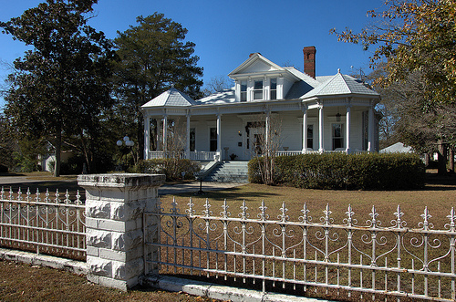 Vidalia GA Toombs County Historic District Jackson Neoclassical Architecture Ornamental Cast Iron Fence Picture Image Photo © Brian Brown Vanishing South Georgia USA 2013
