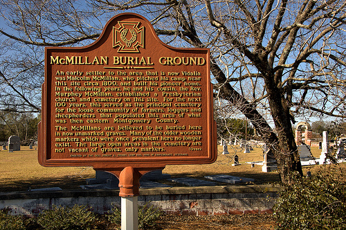 Vidalia GA Toombs County McMillan Burial Ground Cemetery Primitive Baptist Church Early Pioneer Settlers Historic Marker Picture Image Photo © Brian Brown Vanishing South Georgia USA 2013