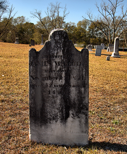 Vidalia GA Toombs County McMillan Burial Ground Pioneer Cemetery James McLeod Headstone Picture Image Photo © Brian Brown Vanishing South Georgia USA 2013