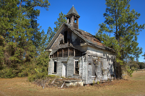 Ezekiel New Congregational Methodist Church Carpenter Gothic Victorian Influenced Architecture Abandoned Beyond Repair Fire Destruction Picture Image Photograph © Brian Brown Vanishing South Georgia USA 2013