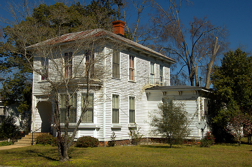 Lumber City GA Telfair County Greek Revival Italianate Architecture Landmark House One of Three Side by Side Perspective View Picture Image Photograph © Brian Brown Vanishing South Georgia USA 2013