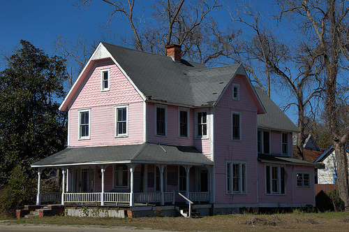 Waycross GA Jane Street Folk Victorian Architecture Pink Two Story House Endangered Historic Property Picture Image Photograph © Brian Brown Vanishing South Georgia USA 2013