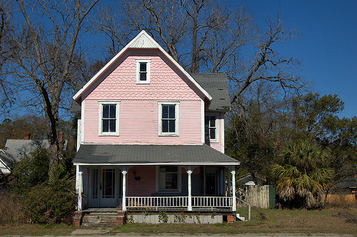 Waycross GA Jane Street Folk Victorian Architecture Pink Two Story House Scalloped Cornice Endangered Historic Property Picture Image Photograph © Brian Brown Vanishing South Georgia USA 2013