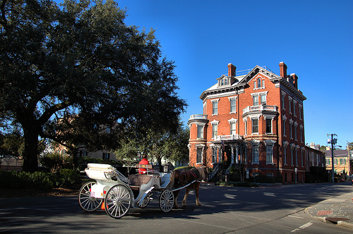 William Kehoe House Savannah GA Columbia Square Haunted Hotel Horse and Buggy Picture Image Photograph © Brian Brown Vanishing South Georgia USA 2013