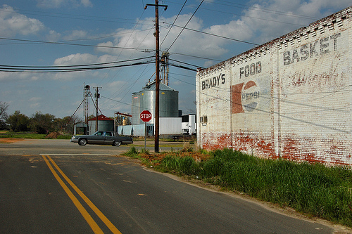 Damascus GA Early County Pepsi Cola Mural Brady's Food Basket Grain Bins Silos Passing Picture Image Photograph © Brian Brown Vanishing South Georgia USA 2013