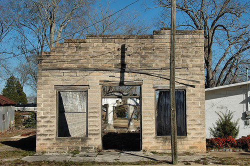 Pitts GA Wilcox County Abandoned Theatre Building Shell Granitoid Blocks Picture Image Photograph © Brian Brown Vanishing South Georgia USA 2013