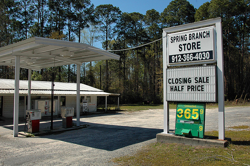 Spring Branch GA Appling County Old Roadside Country Store Closing Sale Half Price Sign Gas Pumps Picture Image Photograph © Brian Brown Vanishing South Georgia USA 2013