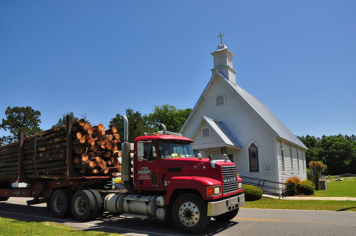 Graham GA Appling County United Methodist Church Log Truck Picture Image Photograph © Brian Brown Vanishing South Georgia USA 2013