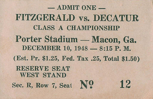 1948 GA State Football Championship Game Ticket Porter Stadium Macon Fitzgerald vs. Decature © Collection of Brian Brown Vanishing South Georgia USA 2013