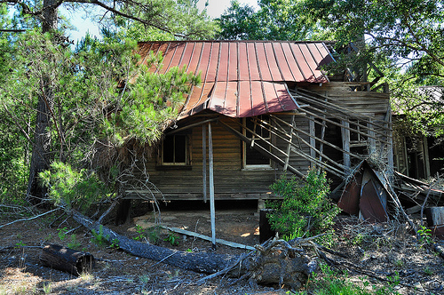 Abandoned Farmhouse Collapsing Porch Fallen Trees Irwinville GA Irwin County Picture Image Photograph © Brian Brown Vanishing South Georgia USA 2013