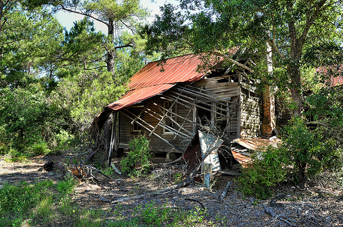 Abandoned Farmhouse Collapsing Porch Irwinville GA Irwin County Picture Image Photograph © Brian Brown Vanishing South Georgia USA 2013