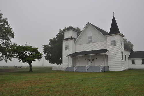 Abba Baptist Church Irwin County GA Foggy Morning Landmark Picture Image Photograph © Brian Brown Vanishing South Georgia USA 2013